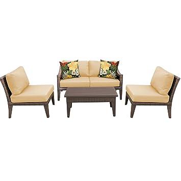 amazon com tk classics 5 piece manhattan outdoor wicker patio