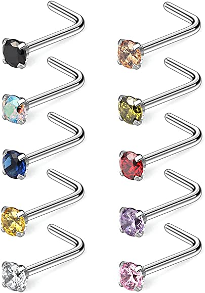 Ruifan 18G 316L Surgical Steel 1.5mm 2mm 2.5mm 3mm Opal /& Clear CZ Nose Screw Rings Studs Ring Body Piercing Jewelry 8PCS