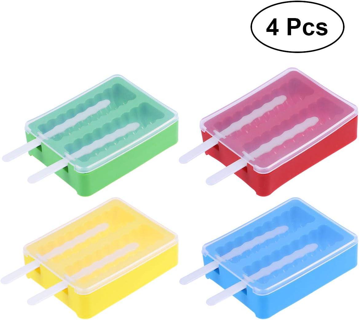 OUNONA 4 St/ück Eisformen Silikon Stieleisformen Eis-Lolly Eiscreme-Formen f/ür Eispop-Hersteller mit Kunststoffdeckeln und Ruten Eiscreme-Formen