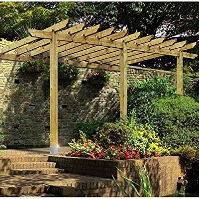 XFACTOR DEAL LIMITED Lean to Pergola jardín de Madera Patio Techo ...