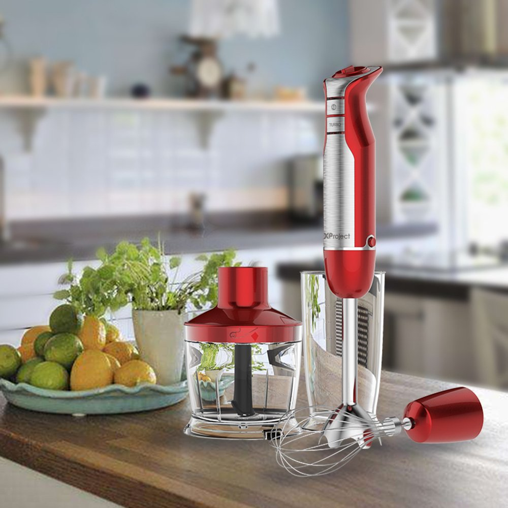 XProject 800W 4-in-1 Hand Blender with 6 Speed,Powerful Immersion Hand Blender for Smoothies Baby Food Yogurt Sauces Soups (Red) by XProject (Image #10)