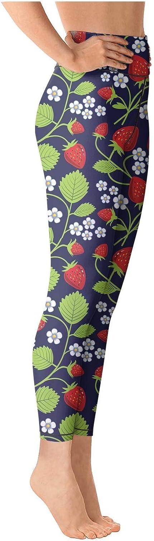 Printed high Waisted Leggings for Women Training Yoga Pants Strawberry Fruit Art Black Gym Legging