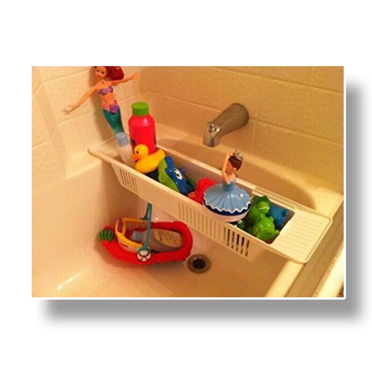 Adjustable Bathtub Storage Basket Organiser Shower Caddy Ideal For Kids Toys Holder SAFRI®