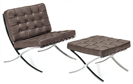 Dark Chocolate Brown Barcelona Chair With Ottoman By Mies Van Der Rohe