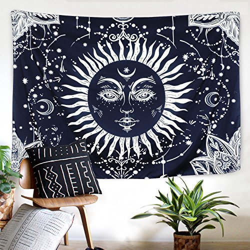 (Ice jazz Burning Sun and Moon Tapestry Psychedelic Sun Tapestry Dark Blue White Mystic Celestial Tapestry Wall Hanging(Moon and Sun, 59.1