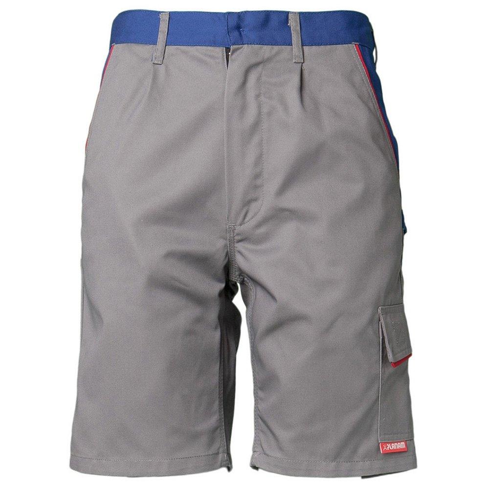 Planam 2373040'Highline' Shorts, Zinc/Royal Blue/Red, X-Small