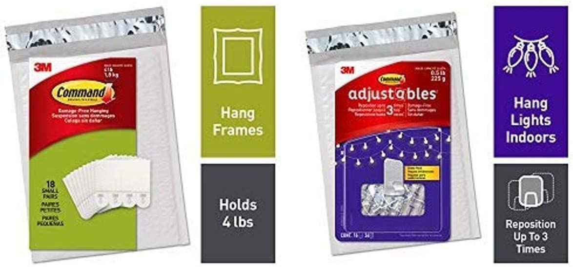 Command 18 Small Picture Hanging Strips and 16 Adjustables Repositionable Clips