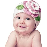 Gorras para bebé, Dragon868 Hermosa flor grande caliente gorro de punto gorras para niños de bebé