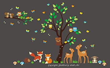 Baby Nursery Wall Decals - Forest Animal Wall Stickers - Nature Themed Wall Decals - Wildlife  sc 1 st  Amazon.com : forest animals nursery wall decals - www.pureclipart.com