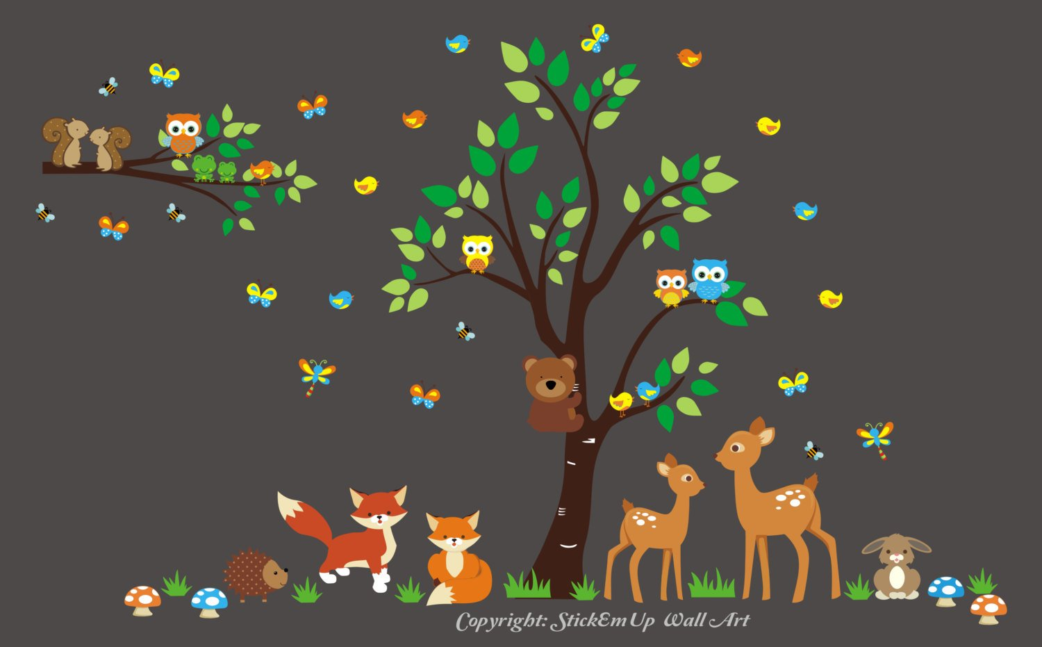 Baby Nursery Wall Decals - Forest Animal Wall Stickers - Nature Themed Wall Decals - Wildlife Wall Stickers - Forest Themed Nursery Decor - Deer Decal - Fox Decal - Rabbitt Decal - Nursery Gift