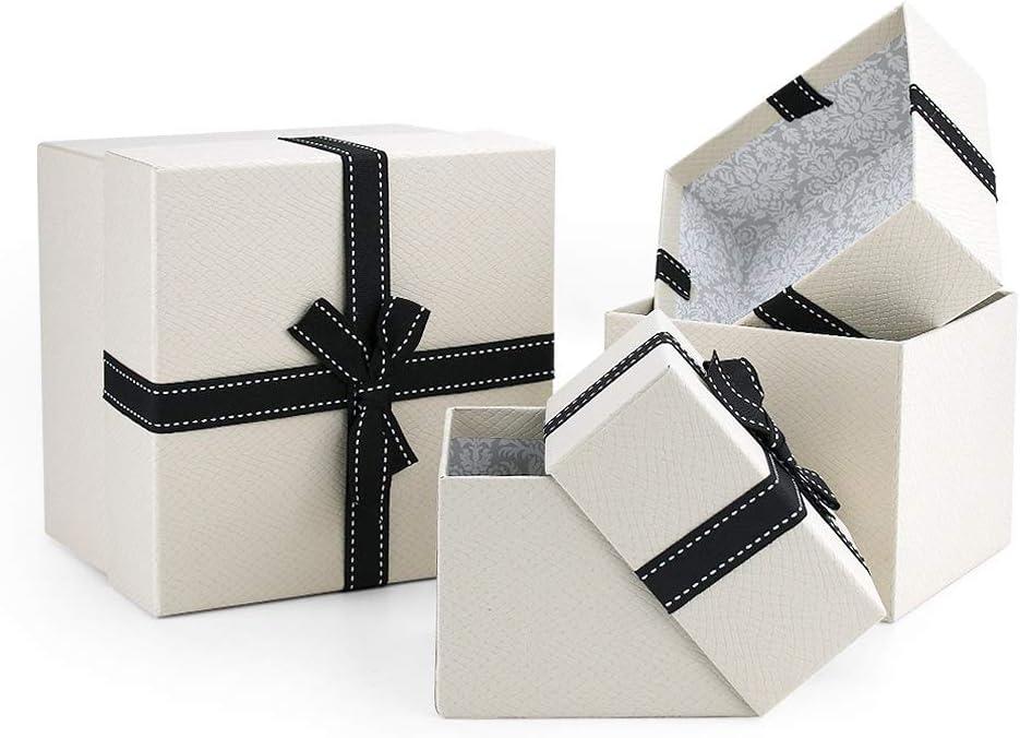 VEESUN Cajas de Regalo, 3pcs Grandes Cartón Bolsas de Regalo Cajas de Papel Kraft con Tapas Personalizada Papel de Regalo para Aniversario Boda Fiesta Comunion Navidad San Valentín Año Nuevo, Beige: Amazon.es: