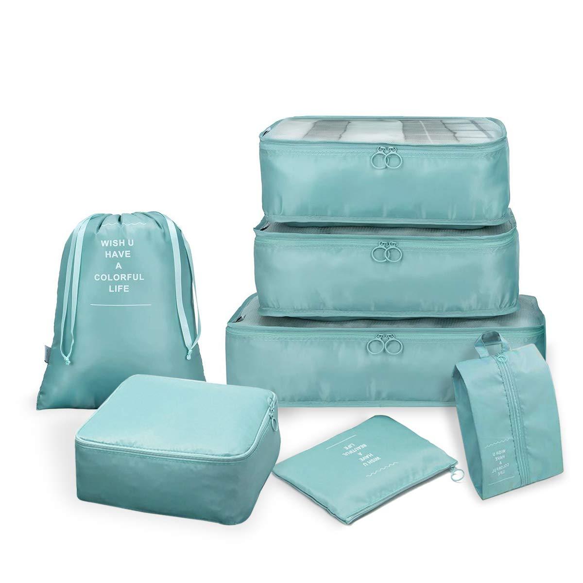 Azul Claro con Bolsa para Zapatos HAISSKY de poli/éster - Luggage Bags Organizers Juego de 7 organizadores de Viaje Plegables Resistentes al Agua Azul