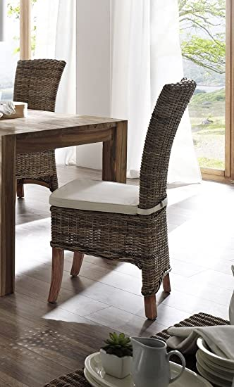 Albion White Painted Mahogany Wing Back Rattan Dining Chair Cushion