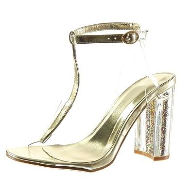 Angkorly Damen Schuhe Transparent Sandalen T Spange Sexy Transparent Schuhe c1d1f6