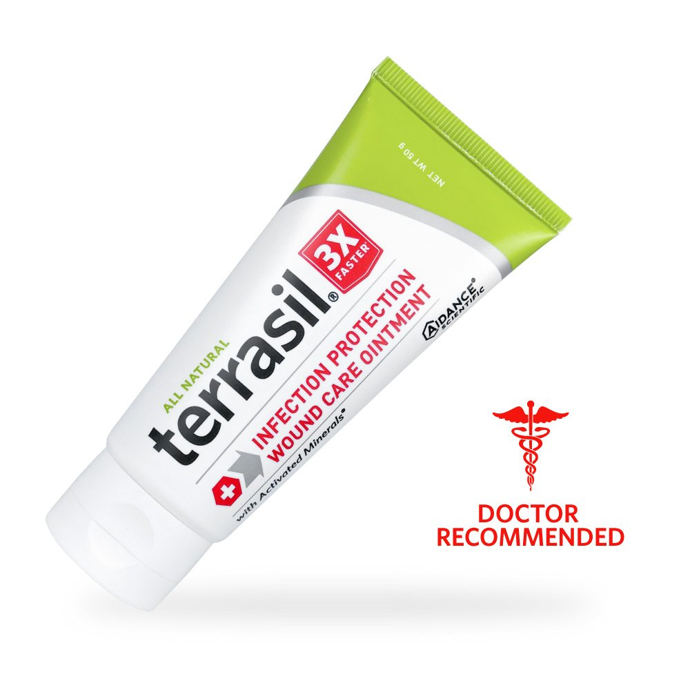 Terrasil® Wound Care - 3X Faster Healing, Dr Recommended, 100% Guaranteed, Infection Protection for bed sores, pressure sores, diabetic wounds, foot, leg ulcers, cuts, scrapes, burns - 50g tube