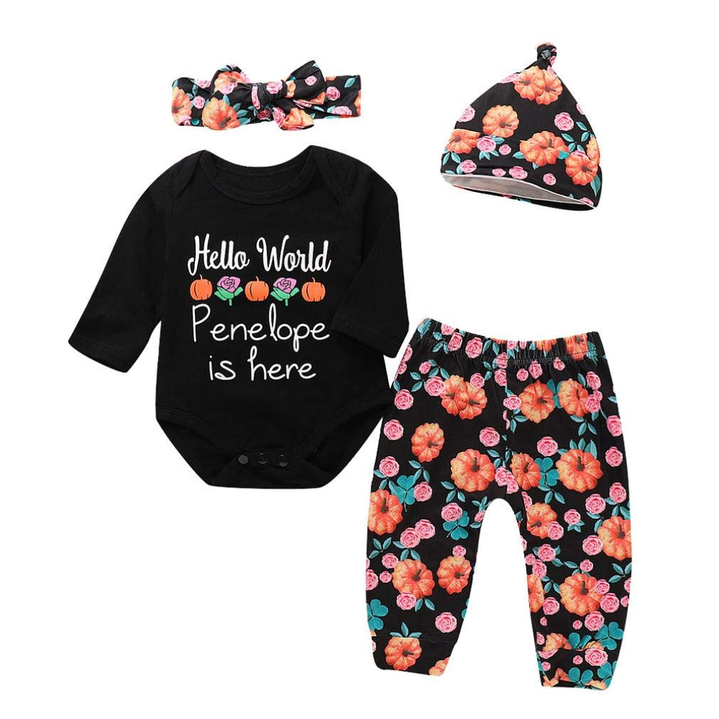 Suma-ma (3M-18M) Infant Baby Girls Boys Long Sleeves Halloween Print Khaki + Floral Pants + Hat + Headband Hello World