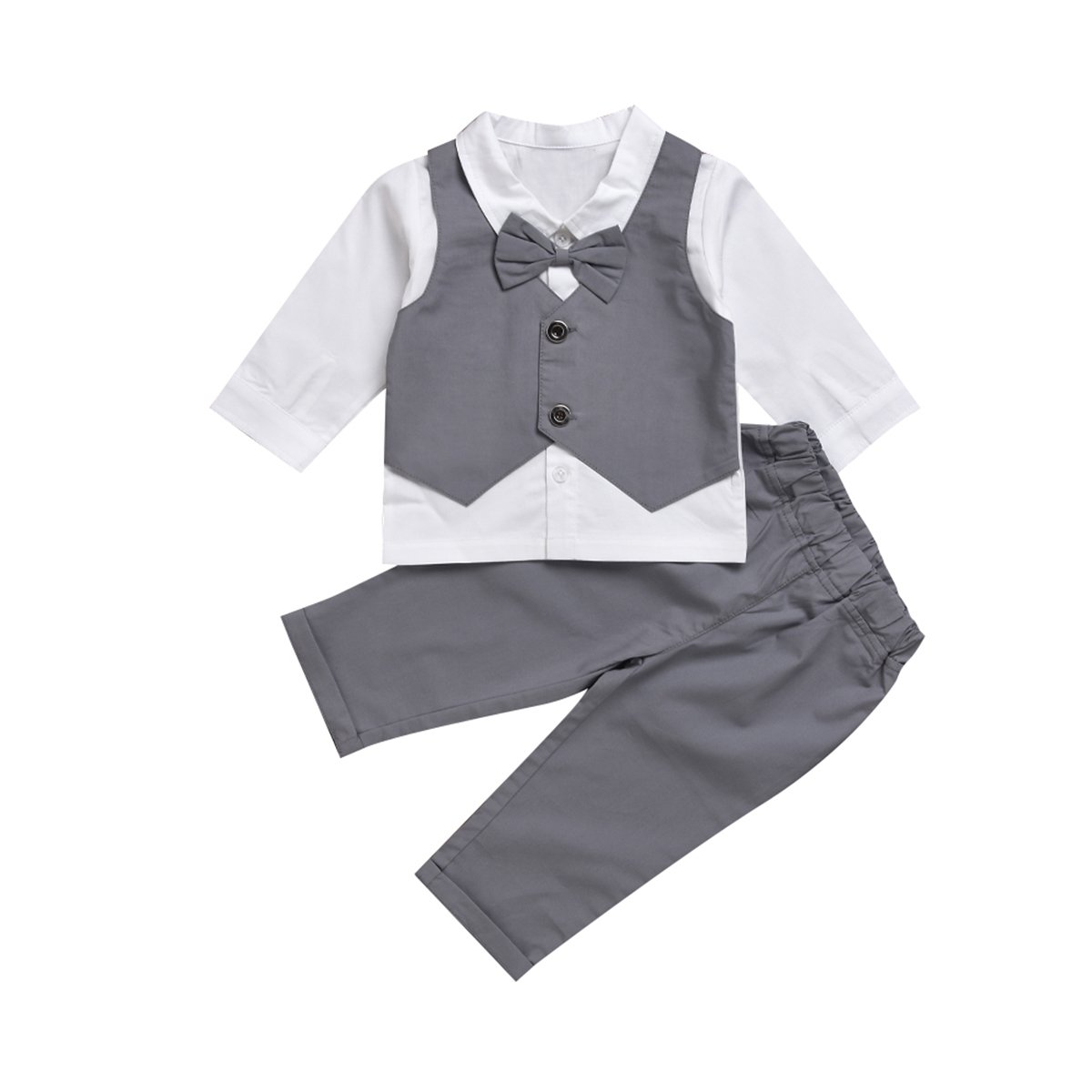 Puseky Baby Boys Gentleman Suit Bow Tie Shirt + Pants Formal Outfit Clothes Set (12-24 Months, White+Grey)