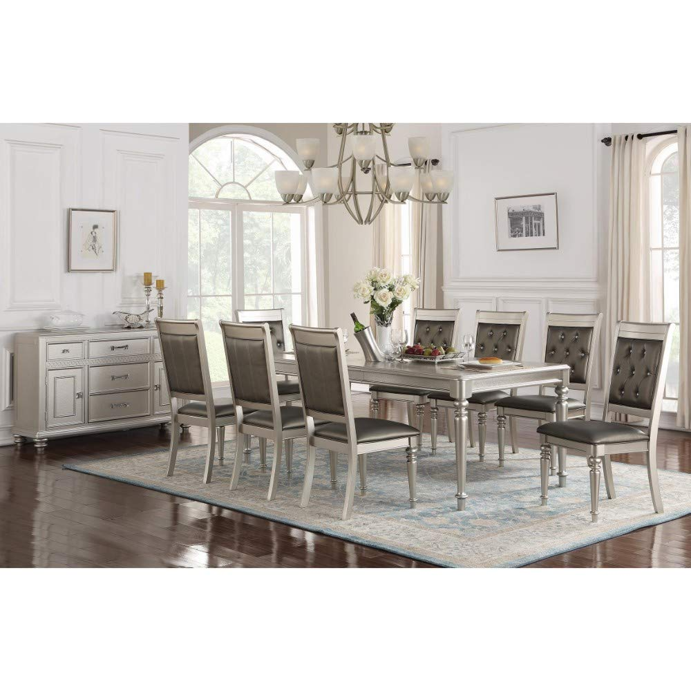 Benzara BM171316 Brimmed with Opulence Dining Table in Rubber Wood Silver
