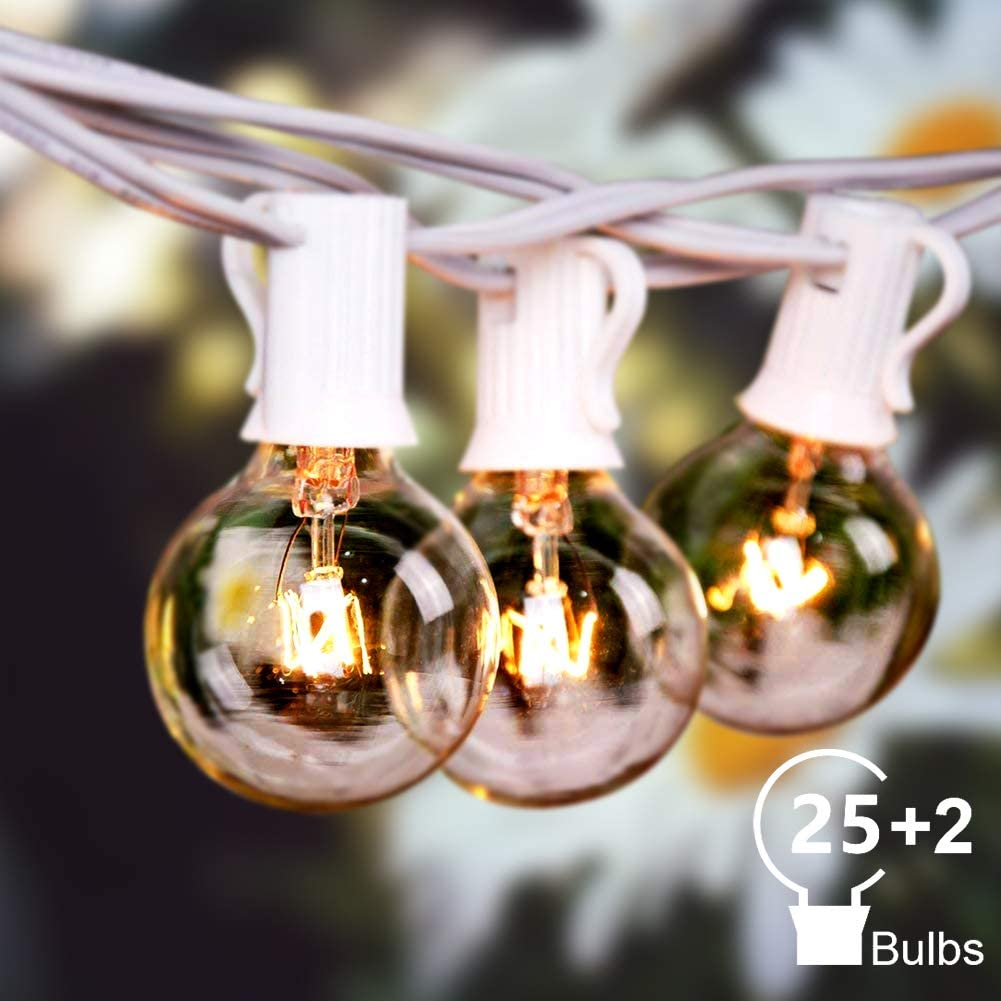 Bomcosy Outdoor String Lights, 50Ft G40 Globe String Lights with 25+2pcs(Spare) 5W Clear Bulbs, 2200K Warm White, Waterproof Connectable Commercial Backyard Patio Lights, 25pcs E12 Socket Base,White.