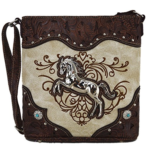 Western Cowgirl Style Horse Cross Body Handbags Concealed Carry Purses Country Women Single Shoulder Bag (Beige)