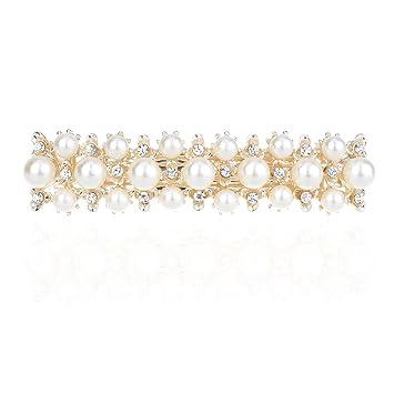 c310a023b1878 Amazon.com : Pearl Hair barrettes for women Clear Crystal Hair Clips 169#  (style 4) : Beauty