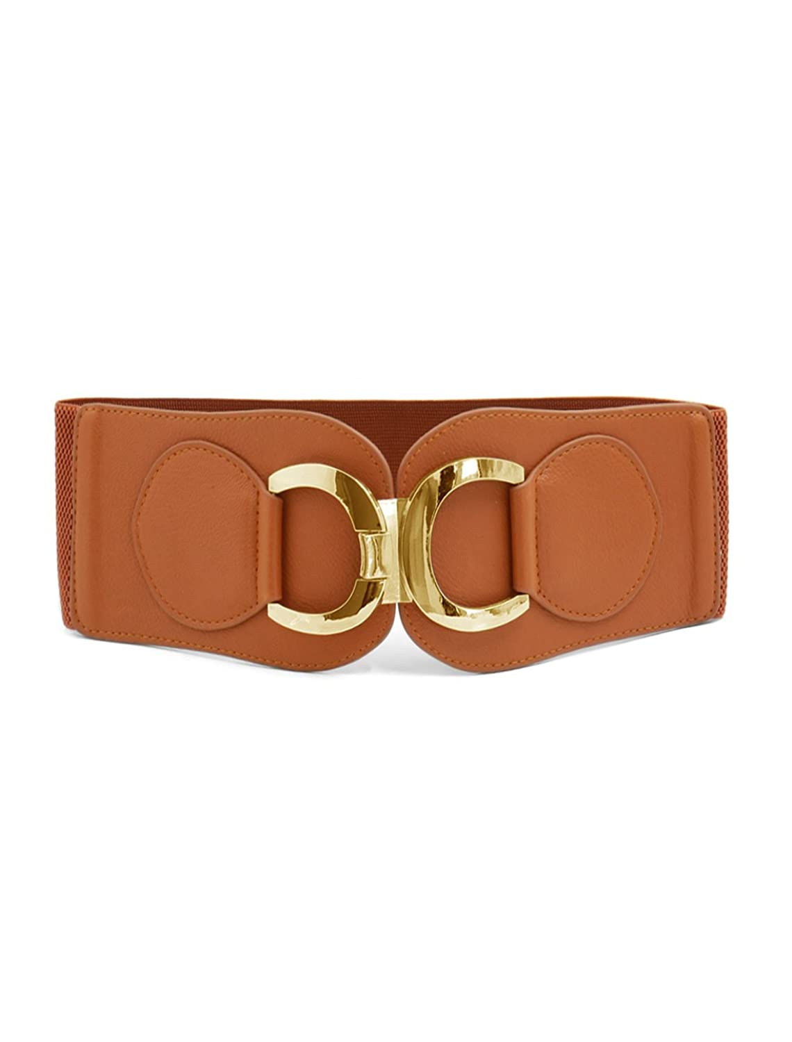 Woman Gold Tone Double D Ring Buckle Brown Wide Elastic Belt