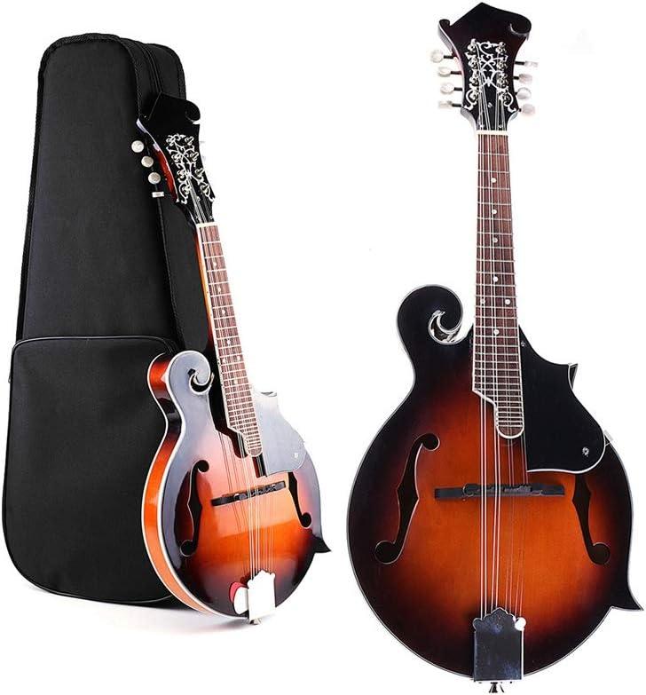 ZGHNAK 39 '' Sunset F-Model Mandolin 8 cuerdas Ukulele de concierto bajo guitarra con estuche de ukelele para el instrumento musical de cuerda de los amantes regalo