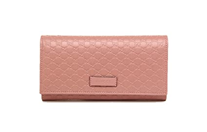 7a71c77a3f3 Gucci Women s Signature GG Micro Guccissima Continental Flap Long Bifold  Leather Wallet - Soft Pink 449396