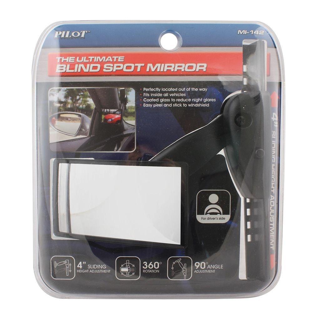 Non-Carb Compliant Pilot Automotive MI-142 Black Universal Adjustable Pillar Mount Blind Spot Mirror,