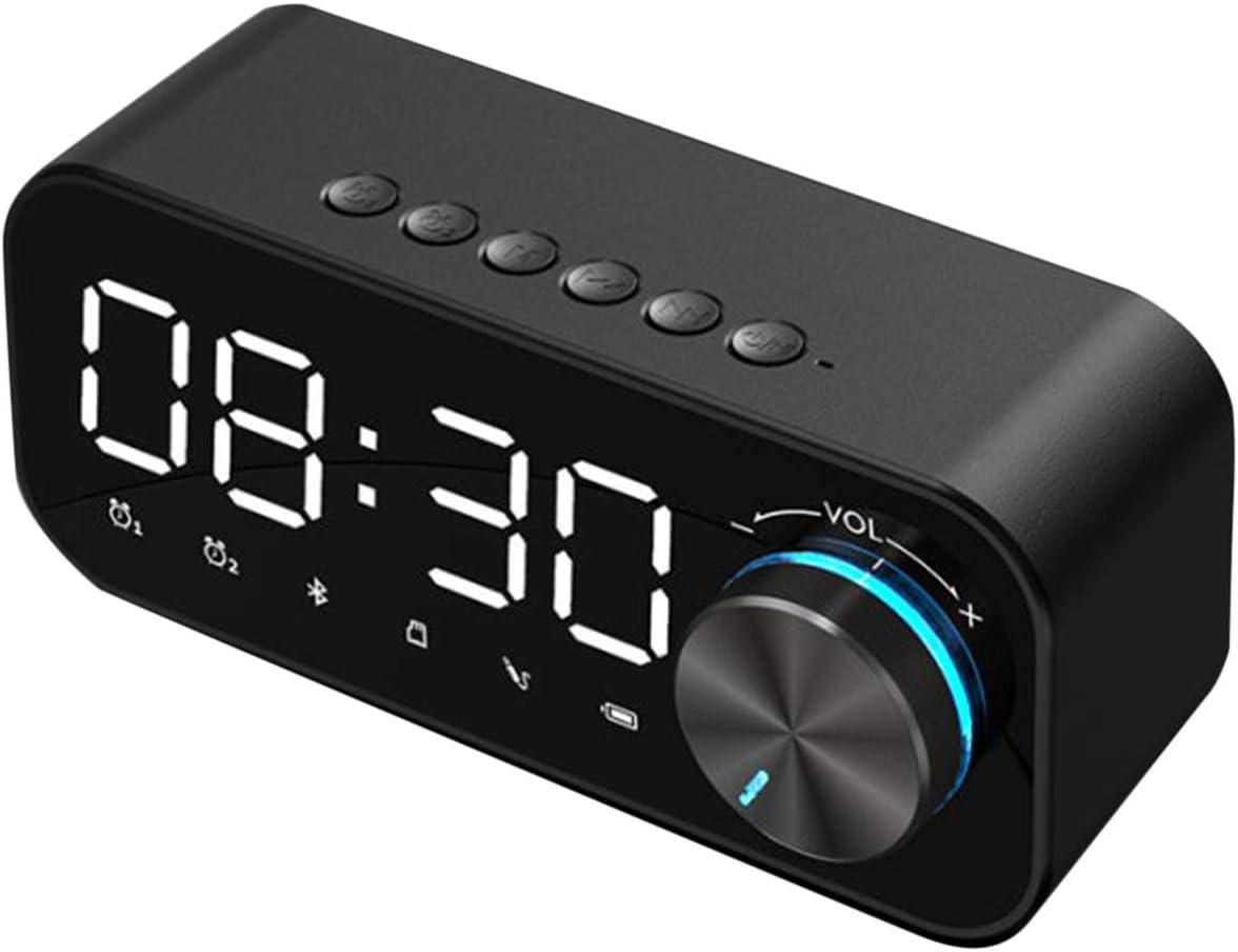 WBTY Reloj despertador digital con radio y altavoz Bluetooth, con pantalla LED y alarma y superficie de espejo para escritorio