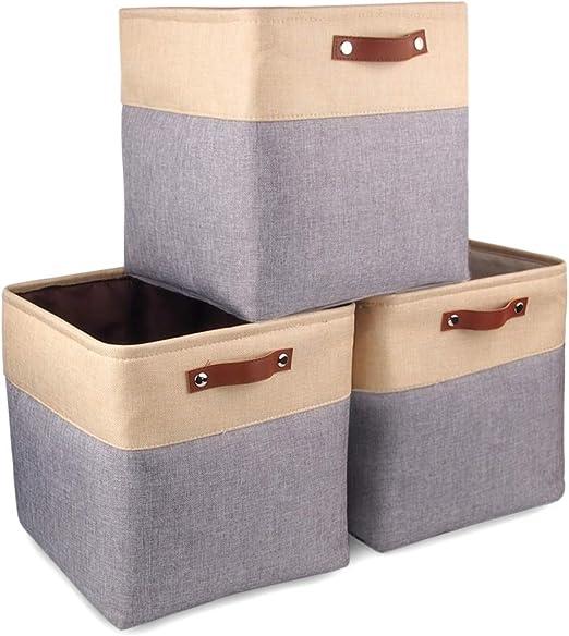 Mangata Cajas de Almacenaje Decorativas, Cesta de Almacenamiento de Tela Plegable, Cubos de Almacenamiento - 33 x 33 x 33 cm (Gris/Beige, 3 Pcs): Amazon.es: Hogar