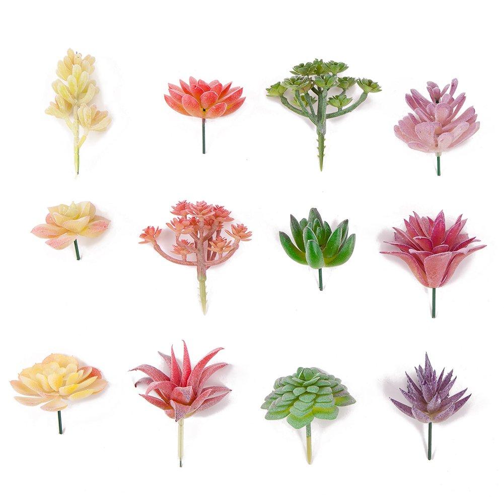 Seehoo Artificial Succulents, 12Pcs Faux Succulents for Fake Succulent Bouquet Floral Arrangement (4 Colors Mixed)