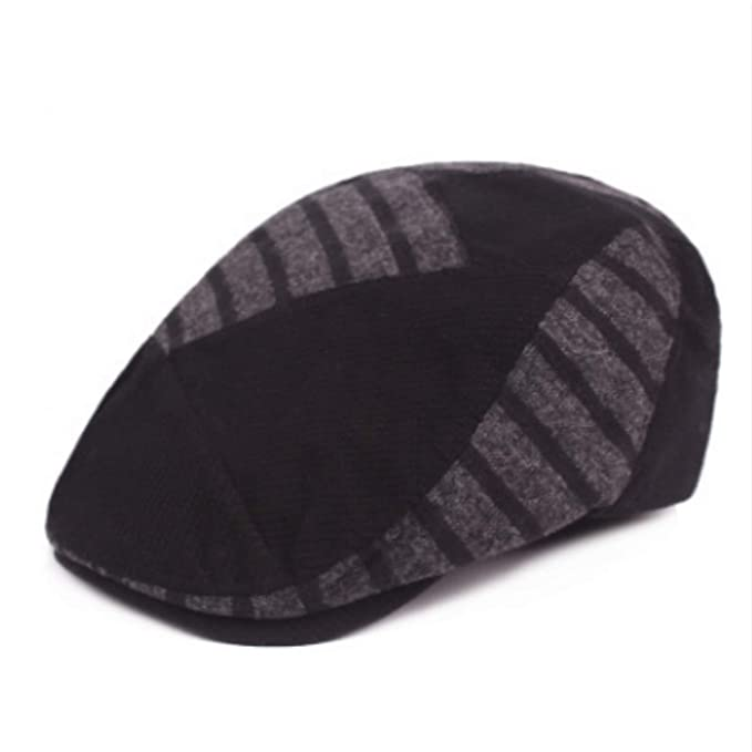 Striped Winter Knitted Berets Women Men Patchwork Warm Visor Cap Vintage Peaked Hat Gorras Retro Newsboy