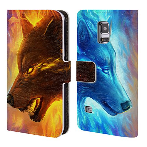 "Price comparison product image Official Jonas ""JoJoesArt"" Jödicke Fire And Ice Wildlife Leather Book Wallet Case Cover For Samsung Galaxy S5 mini"