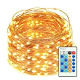 Image of LED String Lights, 66ft 200 LEDs Dimmable with Remote Control Amysen Waterproof Decorative Lights for Bedroom, Patio, Wedding, Garden, Party (Warm White, Copper Wire Lights)