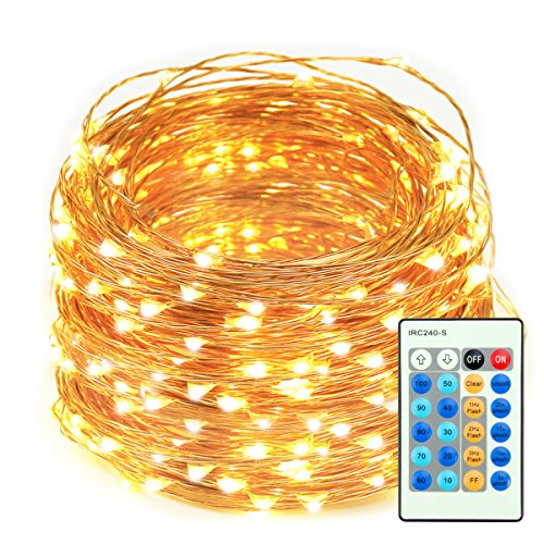 LED String Lights, 66ft 200 LEDs Dimmable with Remote Control Amysen Waterproof Decorative Lights for Bedroom, Patio, Wedding, Garden, Party (Warm White, Copper Wire Lights)