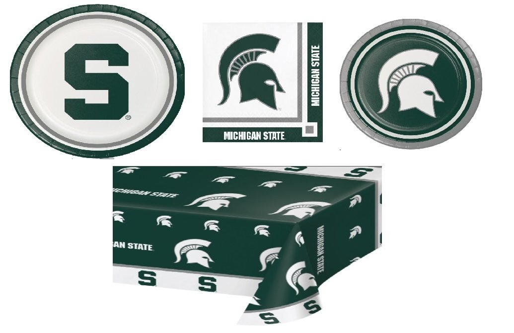 Michigan State University Plate and Beverage Bundle: 16-9 inch Plate, 16-7 inch Plates, 20 Beverage Napkins and Plastic Cloth