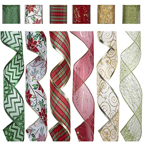 """SANNO 2.5"""" 36 Yards Christmas Wired Ribbon Assorted Red Plaid Sparkling Decorations Organza Swirl Sheer Glitter Crafts Gift Glitter Tulle Ribbon Floral Colorful Christmas Decoration Poinsettia"""