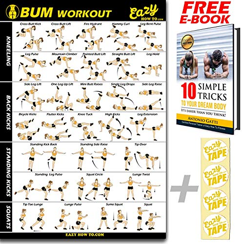 Butt Workout Exercise Banner Poster - Tone, Firm, Shape, Lift & Grow a Bigger Bum At Home - Big Gym Chart 28 X 20