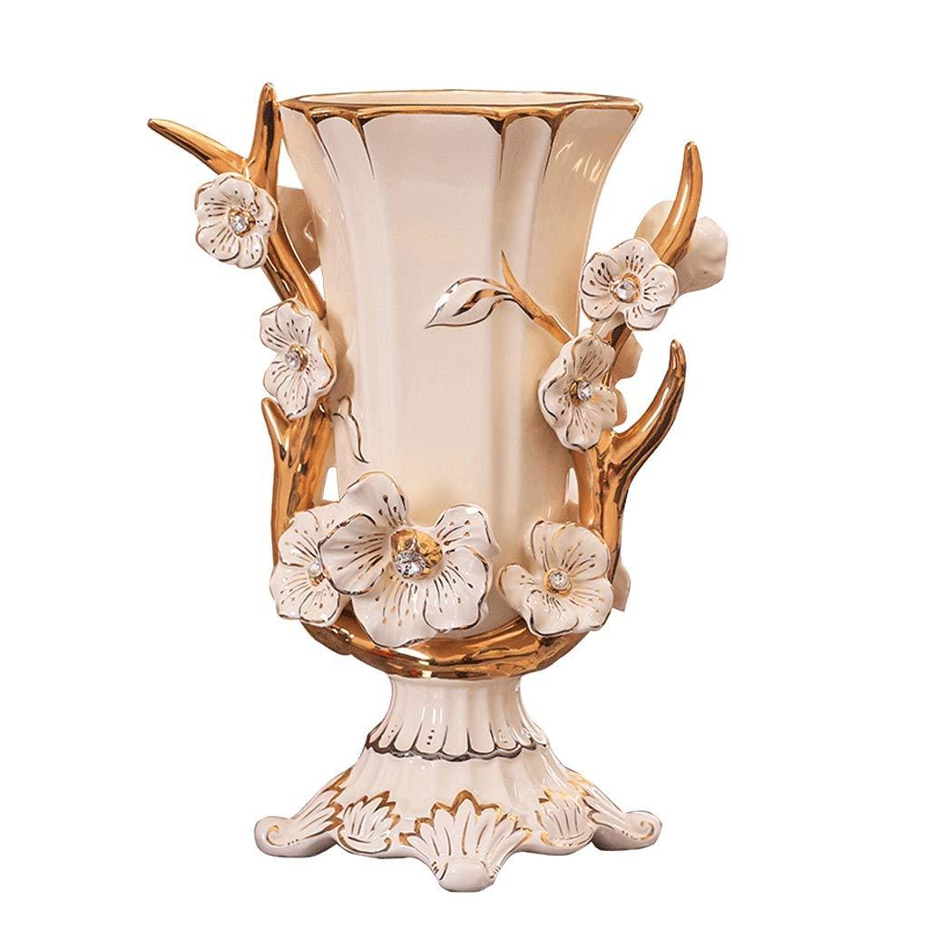 花瓶ヨーロッパ花瓶装飾家の装飾品セラミック床花瓶リビングルームの装飾クリエイティブ花瓶 LQX B07SNNZJ88