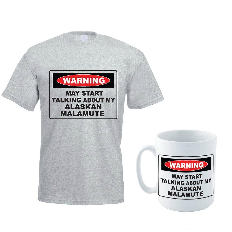 WARNING MAY START TALKING ABOUT MY ALASKAN MALAMUTE - Dog / Pet / Gift Idea Men's T-Shirt and Ceramic Mug Set