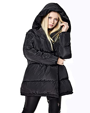 33a8af338d236 Fitaylor Women Winter Puffer Duck Down Coat Hooded Parkas Warm Jacket  (Black