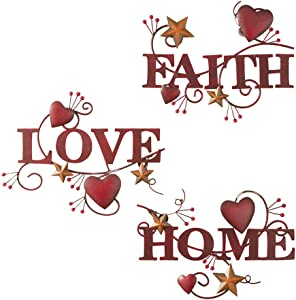 Indoor/Outdoor Faith Love Home Metal Wall Art Signs - Set of 3 By SkyMall