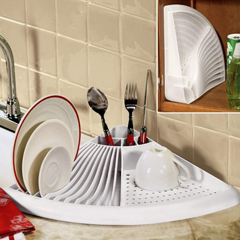 3 In 1 Corner Dish Rack Space Saving Kitchen Dish Drainer Drying Rack With Cutlery Holder Sink Tray Storage Shelf For Plates Bowl Cup Tableware Organizer White Amazon Ca Home Kitchen