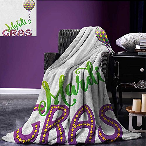 - Mardi Gras summer blanket Illustration of Cartoon Mardi Gras Color Balloon with Swirl Ribbon Flannel Purple Green Yellow size:51