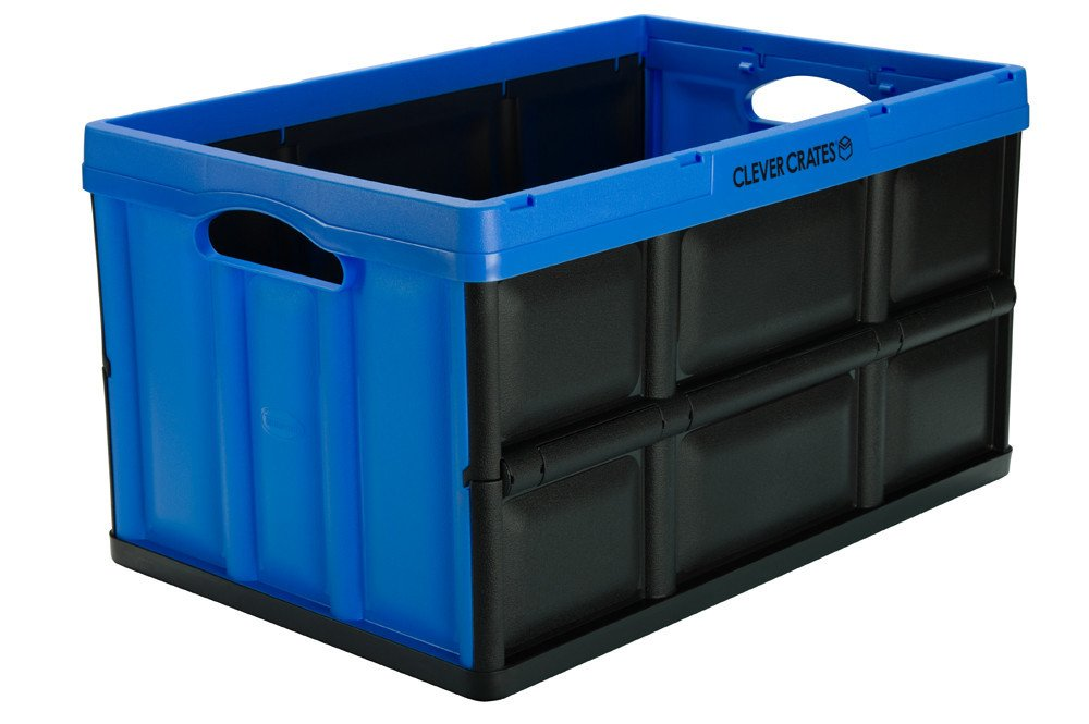 Cajas de almacenaje plegables Clever Crates de 46 litros con capacidad de peso de 40 kg, color azul, apilables, ideales para guardar juguetes, ...