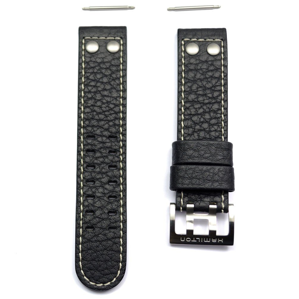 Authentic Hamilton Khaki X-Wind 22mm Black Leather Band Strap for H77616333, H77696793, H77616533 by Hamilton