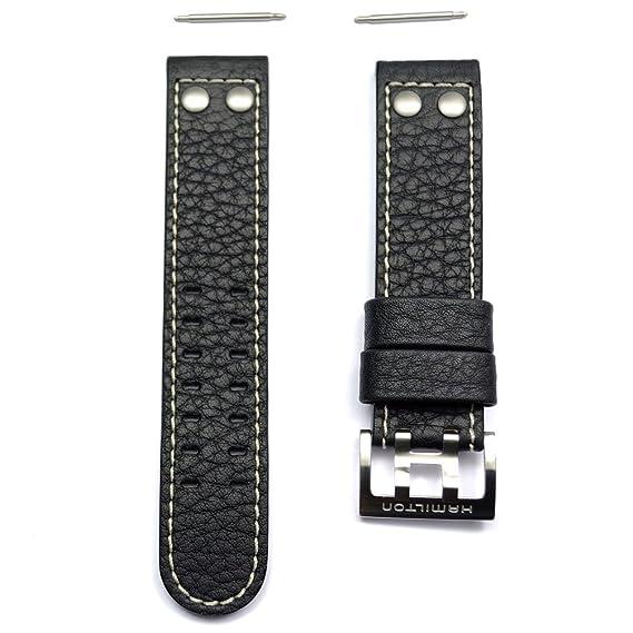 Correa Piel Negra Banda Reloj Hamilton Khaki X Wind Auto 22mm H600.776.116: Amazon.es: Relojes