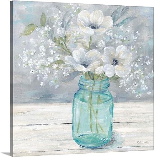 Vintage Jar Bouquet Canvas Wall Art Print