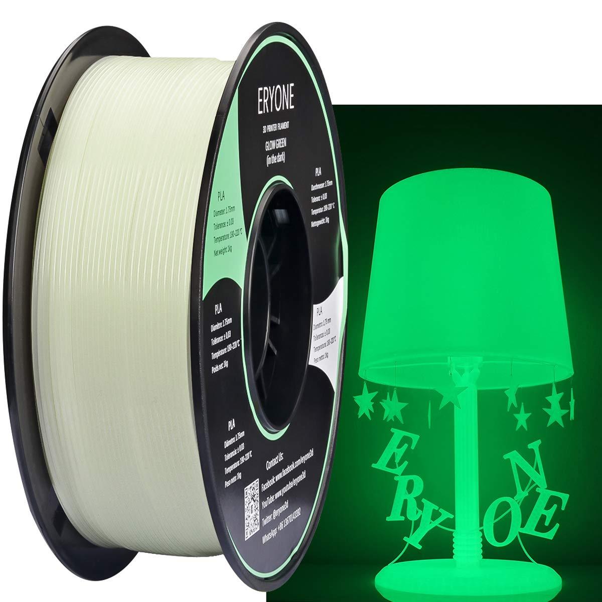 Eryone Glow Green in The Dark PLA 3D Printer Filament 1.75mm, Dimensional Accuracy +/- 0.05 mm, 1kg (2.2LBS) / Spool